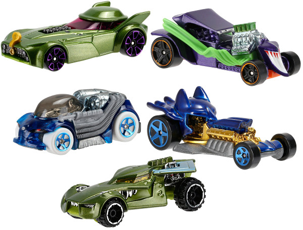 HOT - WHEELS - PIĘCIOPAK - POJAZDÓW - BATMAN - VS - SUPERMAN - DJP11